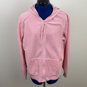 Old Navy pink velour hoodie with front pockets XXL
